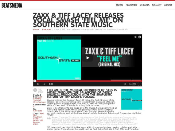 Zaxx and Tiff Lacey receive a nice review on Beatsmedia